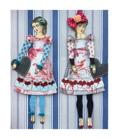 Paper Dolls by Catherine Moore working with Character Constructions art stamps.