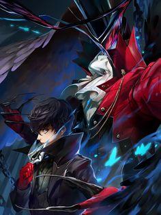 Joker and Arsene Persona 5 Persona 5 Ann, Persona 5 Joker, Anime Guys, Manga Anime, Anime Art, Ren Amamiya, Tamako Love Story, Shin Megami Tensei Persona, Akira Kurusu