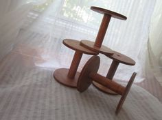 Lot of 4 Vintage Wooden Spools Large by MendozamVintage on Etsy, $12.99