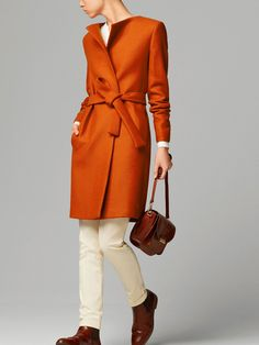 Massimo Dutti - Belted orange coat. Love the color!