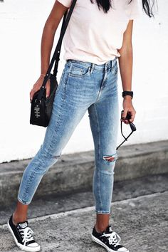 Jeans, tees and sneakers.
