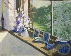 Marjorie Braidwood Wallace - Buddleia outside the window; Medium: Oil on canvas; Dimensions: 64 x Oil On Canvas, Glass Vase, The Outsiders, African, Windows, South Africa, Artist, Artwork, Painting