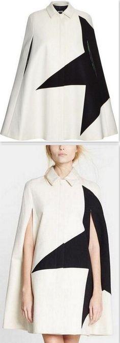 Contrast-Star Wool Blend Cape