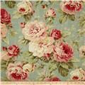 Multi colored floral fabric on soft aqua background - washed with weathered shabby chic look. Multi purpose home décor fabric for light use upholstery, slipcovers, drapery fabric, pillow covers, swags or top of the bed. Vintage Diy, Floral Vintage, Vintage Roses, Vintage Paper, Shabby Chic Living Room, Shabby Chic Homes, Shabby Chic Furniture, Tela Shabby Chic, Shabby Chic Fabric