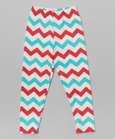This Red & Blue Chevron Leggings - Toddler & Girls is perfect! #zulilyfinds