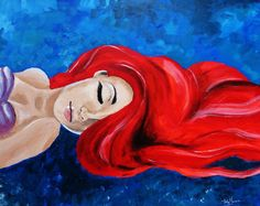 This is an acrylic painting of Ariel from The Little Mermaid. It took around four hours to complete, it is done on a slightly bigger than canvas and . Ariel, The Little Mermaid Little Mermaid Painting, Little Mermaid Drawings, Little Mermaid Art, Disney Little Mermaids, Easy Disney Drawings, Easy Flower Drawings, Simple Canvas Paintings, Canvas Art, Small Canvas