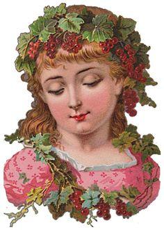 Bild einbinden:-Früchte-Elfen Fruit Elves-Victorian die cut-Victorian scrap