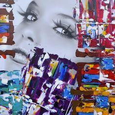 Trendykunst presenteert dit prachtige canvas/olie schilderij van een vrouwengezicht met vele kleuren.