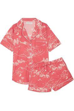 Shop for Printed Cotton Pyjama Set from top fashion designer Desmond & Dempsey featured in ShopBAZAAR. Pajama Outfits, Lingerie Outfits, Pajamas Women, Womens Summer Pajamas, Cotton Pyjamas, Night Outfits, Bikini, Nightwear, Pajama Set