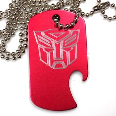 "Autobot Red Pendant With 30"" Chain Dog Tag Aluminum Bottle Opener EDG-0316"