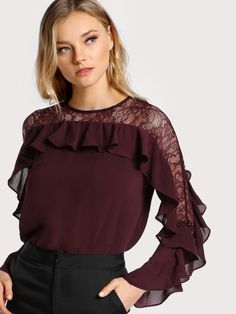 Online shopping for Contrast Lace Ruffle Sleeve Blouse from a great selection of women's fashion clothing & more at MakeMeChic.COM. Chic Outfits, Fashion Outfits, Women's Fashion, Hijab Stile, Best Blouse Designs, Sleeves Designs For Dresses, Fancy Tops, Stylish Blouse Design, Blouse Models