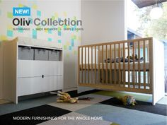 Oliv Collection by Spot On Square -  A modestly modern Crib and Dresser/Changer in a mix of warm birch with a crisp white non-toxic finish.