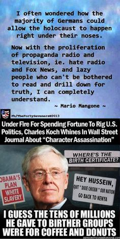 """The Progressive magazine and Center for Media and Democracy have released new documents that show billionaire oil industrialist Charles Koch: How the reactionary ideas absorbed during Charles Koch's youth continue to animate many of his actions decades later. Charles and his brother, David Koch, have used their wealth to push a similar agenda into the mainstream through the tea party and """"dark money"""" political coalitions."""