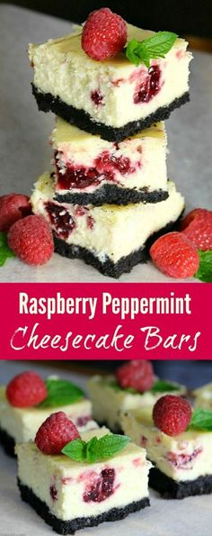 Raspberry Peppermint Cheesecake Bars - a delicious treat anytime of year but perfect for the holidays!