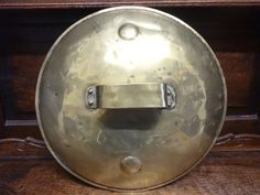 Antique French large brass saucepan cooking pot handled lid top circa 1900's Purchase in store here http://www.europeanvintageemporium.com/product/antique-french-large-brass-saucepan-cooking-pot-handled-lid-top-circa-1900s/