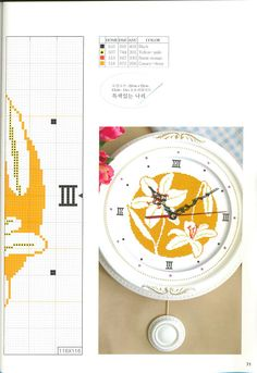 Gallery.ru / Фото #40 - DOME stitch corea 11.2008 - tymannost Cross Stitch Embroidery, Cross Stitch Patterns, Cross Stitch Flowers, Crafts, Clock Faces, Crossstitch, Clocks, Butterflies, Watches
