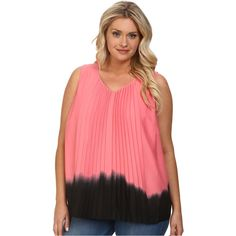 DKNYC Plus Size Vertical Pleat Front Blouse Women's Blouse, Pink ($36) ❤ liked on Polyvore featuring plus size fashion, plus size clothing, plus size tops, plus size blouses, pink, plus size red blouse, pleated blouse, sleeveless chiffon blouse, v neck blouse and sleeveless blouse