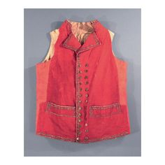 Waistcoat 1785-95. Belonged to Munson Hoyt. Waistcoat with a red wool broadcloth front and collar. Connecticut historical society