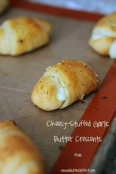 Cheesy Stuffed Garlic Butter Crescent Rolls. Made these, totally awesome. Butter, garlic, italian seasoning, cheese sticks, and crescent rolls. Yummy stuff