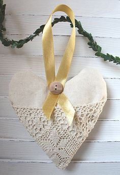 Lavender heart sachet with lace by GreenHouseGallery on Etsy, $12.00