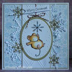 love the layout - die cut snowflake background - bling - bjl