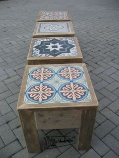 Diy home decor Diy Garden Decor, Diy Home Decor, Tile Tables, Pallet Furniture, Wood Projects, Diy And Crafts, Decoration, Decorative Boxes, Sweet Home