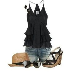 *Wet-Look Top - Yes   *Denim Shorts - No     *Black Flat Shoes - Yes      *Black Chunky Earrings - Yes