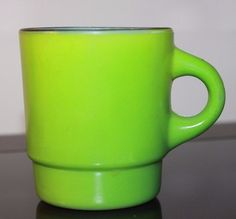 Fire-King Black Rimmed Mug Vintage Retro Bright Green Stacking Glass Cup USA
