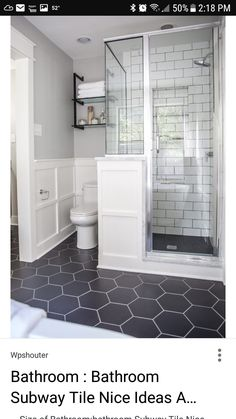 Bathroom ideas  Love the black hexagon tile floor, white subway tile and layout of this bathroom. #bathroomdesign