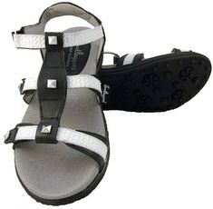 Stylish and comfortable, ladies golf sandals offer relief from leather golf shoes during the warmer months. Shop our large selection at Lori's Golf Shoppe! Check this out --> CECE Black/White Sandbaggers Ladies Golf Sandals