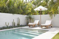 Pergola In Front Yard Info: 6085712888 Tropical Backyard, Backyard Pool Designs, Swimming Pool Designs, Pool Landscaping, Backyard Patio, Alfresco Designs, Outdoor Spaces, Outdoor Living, Small Pool Design