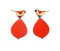 Rebecca Hannon, coral bird earrings