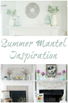 Gorgeous inspiration for creating a summer mantel. Fireplace Ideas, Fireplace Mantels, Summer Mantel, Blue Vases, Home Hacks, Easy Diy Projects, Entryway Tables, Home Goods, Lavender