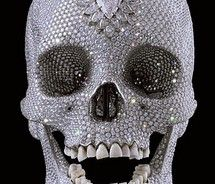 For the Love of God by Damien Hirst. For the Love of God is a sculpture by artist Damien Hirst, produced in It is a platinum cast of a human skull encrusted with flawless diamonds, including a pear-shaped pink diamond on the forehead. Memento Mori, Diamond Skull, Norman Bates, Human Skull, Crystal Skull, Skull And Bones, Art Plastique, Land Art, Oeuvre D'art