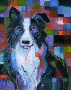 Border Collie Art Portrait.... Quilt inspiration
