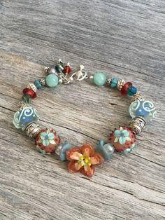 Southwestern Bracelet Colorful Statement Bracelet Lampwork