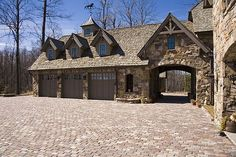 angled detached garage with drive through carport - Google Search