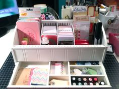 Take out the slats in your bill organizer and create sections for your craft goodies! Great idea by Jenny Suchin.