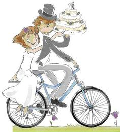 novios en bici Illusion Drawings, Valentine Words, Just Married, Save The Date, Illusions, Baby Strollers, Girly, Clip Art, Watercolor