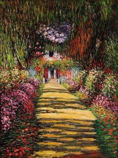 Claude Monet- Garden Path at Giverny iii – Garden Paths Claude Monet, Monet Paintings, Landscape Paintings, Monet Garden, Garden Path, Artist Monet, Famous Art, Impressionist Paintings, Vincent Van Gogh