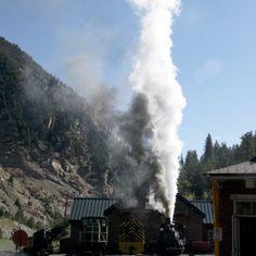 Historic Georgetown Loop Railroad Steam Train in Silver Plume, Colorado