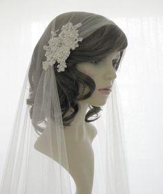 Couture bridal cap veil -1920s wedding  veil - Chantilly