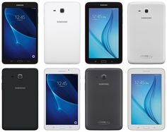 Samsung Galaxy Tab A 2016 7-inch (x2), Galaxy Tab E 7.0 (x2), in black and white, respectively, leak by @evleaks