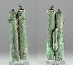 Kohl tube Roman bronze cosmetic double kohl tube vial, 1st-4th century A.D. With one tube for applicator on rear with end caps, 10.8 cm high. Private collection