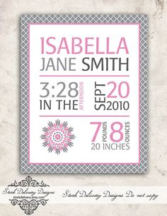 Pink Dahlia Baby GIrl - Birth Stat Nursery Wall Art - DIY Printable