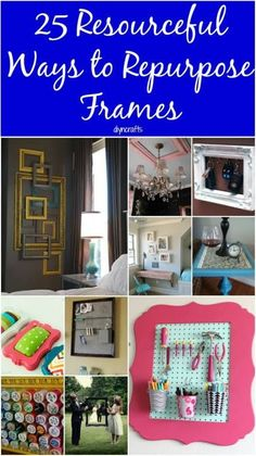 25 Resourceful Ways to Repurpose Frames – Toss the Pictures and Think Outside the Box. 25 Resourceful Ways to Repurpose Frames – Toss the Pictures and Think Outside the Box Picture Frame Projects, Old Picture Frames, Old Frames, Photo Frame Crafts, Crafts With Picture Frames, Picture Frame Decor, Frames Ideas, Picture Wall, Upcycled Crafts