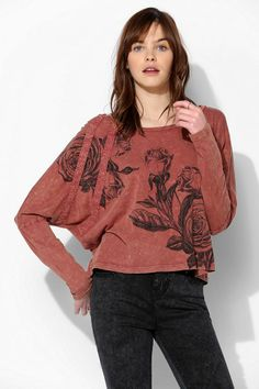 Project Social T Stencil Roses Dolman Tee #urbanoutfitters