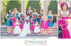 Bridesmaids, Junior Bridesmaids and flower girls.. Wedding colors are Teal and Fuschia with Tangerine accents