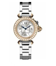 Buy Cartier Miss Pasha Silver Dial Diamond Bezel Ladies Watch WJ124021 Online