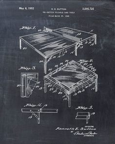 Patent Print of a Ping Pong Table Patent Art Print by VisualDesign, $6.95